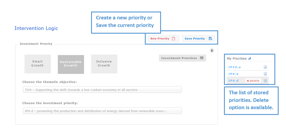 Figure 6:  Step 4 -  Save and manage the investment priorities